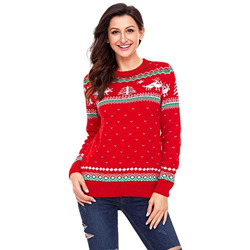 FAMLYJK Maglione da Donna Pullover della Ragazza del Maglione Lavorato a Maglia Renna Sveglia di Natale