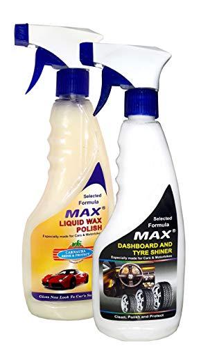 MAX Essential Car Care Kit (Dashboard/Tyre Shiner and Liquid Wax Polish - 500 ML Each)