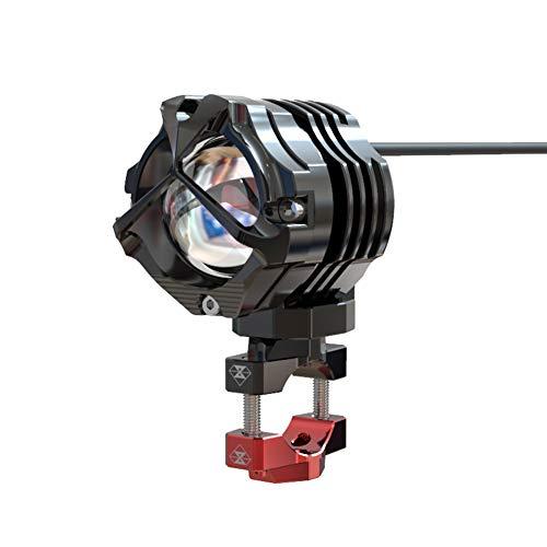 TABN Motorrad LED Scheinwerfer Modifikation Zubehör 10W Linsenscheinwerfer Persönlichkeit Kreative Lichter, Externe Blinkende Zusatzscheinwerfer,Schwarz,42mm