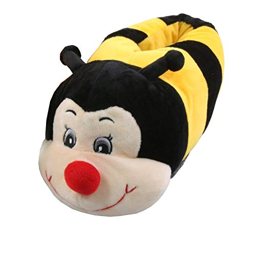 Tierhausschuhe Biene Tier Hausschuhe Pantoffel Puschen Schlappen Kuscheltier Plüsch Kinder Gelb 36-41, TH-BEEYB, Schuhgröße 38/39