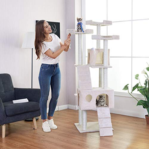 PETSJOY 70'' Cat Tree Multiple Level Condo with Sisal-Covered Scratching Posts Dangling Mouse Toys...