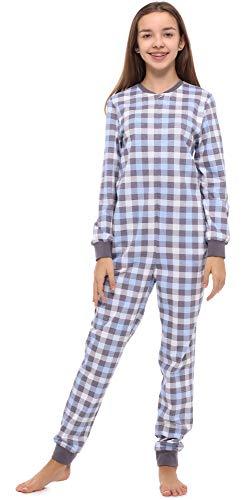 Merry Style Mädchen Jugend Schlafanzug Strampelanzug Schlafoverall(Graphite/Kariert, 164)