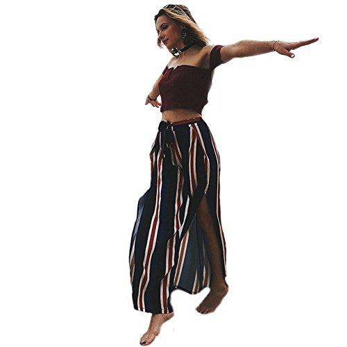 CHIYEEE vrouwen Casual gestreepte brede been broek Palazzo broek met elastische taille dames hoge Split afdrukken Culottes