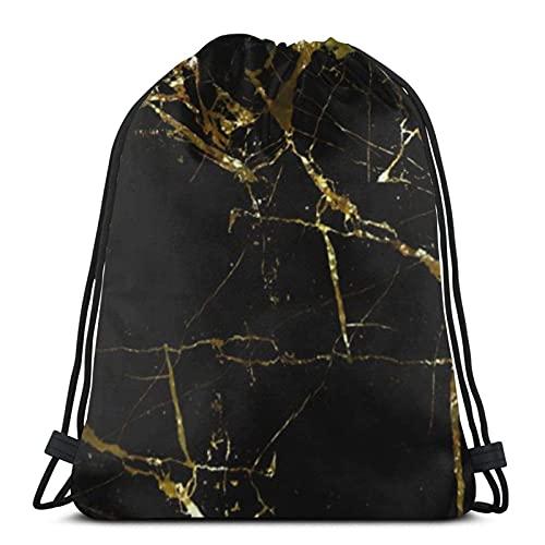 Bolsas con cordón de mármol dorado negro y oro patrón de mármol unisex mochila con cordón bolsa de cuerda bolsa grande bolsa de asas bolsa de gimnasio mochila a granel