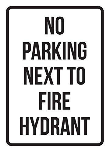 iCandy Products Inc No Parking Next to Fire Hydrant Business Safety Traffic Signs Black - 7.5x10.5 - Metal