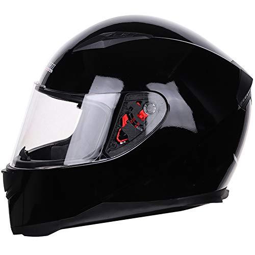 Casco integral para motocicleta de calle con bufanda de invierno extraíble aprobado por DOT (XL, negro brillante)