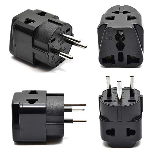 OREI 2 in 1 USA to Israel Travel Adapter Plug (Type H) - 4 Pack, Black New Hampshire