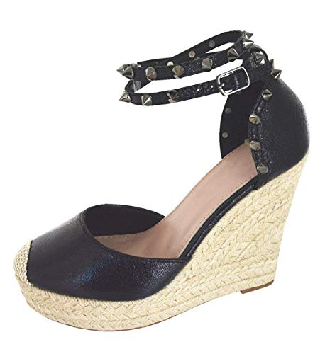 Minetom Sandali Donna Estivo Eleganti Piatto Donna Espadrillas Caviglia con Spalline Sandali Bassi Bocca di Pesce Sandali Nero EU 38