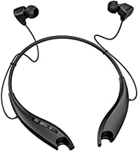 Neckband Headphones, Around The Neck Bluetooth Headphones w/Noise Cancelling Microphone, Bluetooth Headset w/ 22hrs Playtime, Jaws Neck Earphones Stereo Bass, for Music, Conference, Video, Call