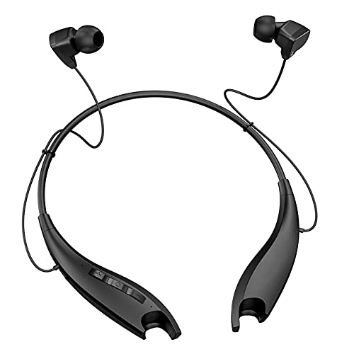 Neckband Headphones, Around The Neck Wireless Earbuds with Noise Cancelling Microphone, Bluetooth 5.0 Headset w/ 22hrs Playtime, Jaws Neck Earphones Stereo Bass, for Music, Conference, Video, Calls