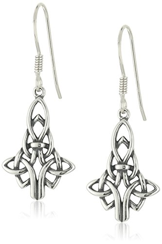 Sterling Silver Oxidized Celtic Knot Drop Earrings