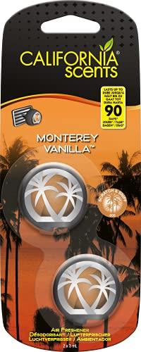California Car Scents - Ambientador de Coche con Fragancia, Olor y Esencias a Monterey Vanilla, Aroma a Vainilla (Minidifusores, 2UDS)