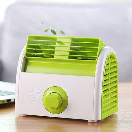 TY&WJ Small desktop fan Desktop No leaf Mini portable Retro style Electric fan For office Dorm Nightstand-green
