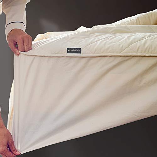 King – Protector de colchón de lana natural, orgánico, lavable – King (150 cm x 200 cm)