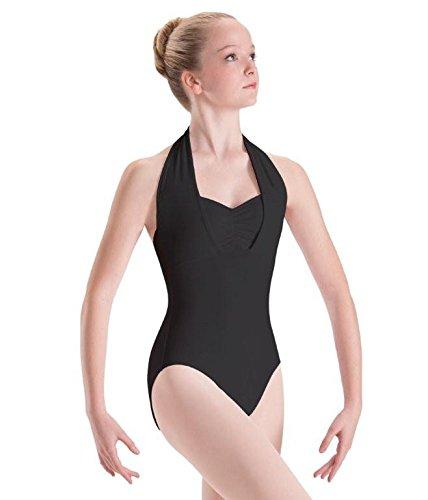 Motionwear Overlay Halter Leotard, Black, Medium Adult