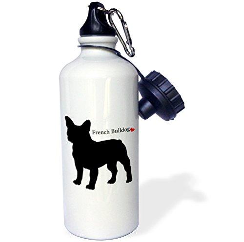 3dRose French Bulldog, Sports Water Bottle, 21 oz, Multicolor