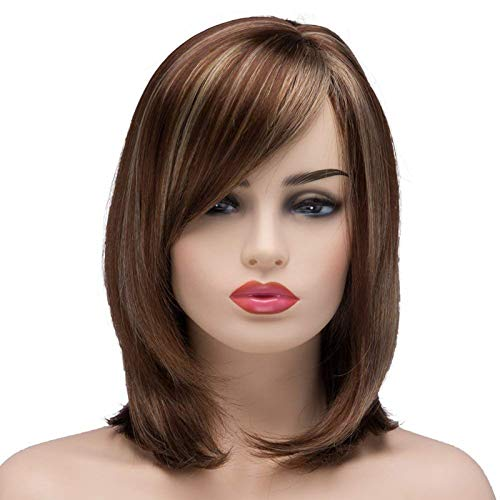 Vvgymmo Short Wigs for White Women, Brown Mixed Blonde Hair Wig with Cute Bangs, Soft Natural Looking Synthetic Full Wigs for Daily Party with a Wig Net P086