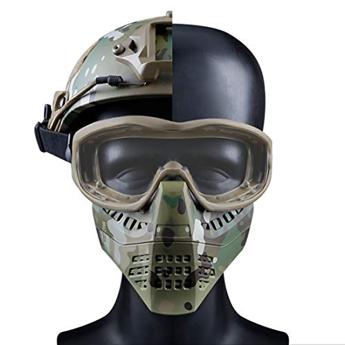 GODNECE Motorrad Schutzmaske, Taktische Maske Kinder Gesichtsmaske Mit Brille für Nerf Airsoft Paintball Halloween