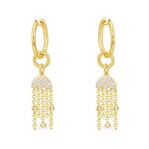 ASFD Pendientes de plata con borla de margarita arcoíris para verano, joyería de lujo de oro