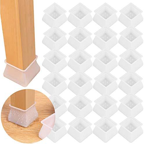 ARTKIVA – Silikon Schutzhülle Stuhl Kappen Füße Pads Stuhlkappen Stuhlbeinschutz Stuhlbeinkappen Stuhlbein Socken Tische und stühle fuß Protektoren Quadrat Beine 24 pcs
