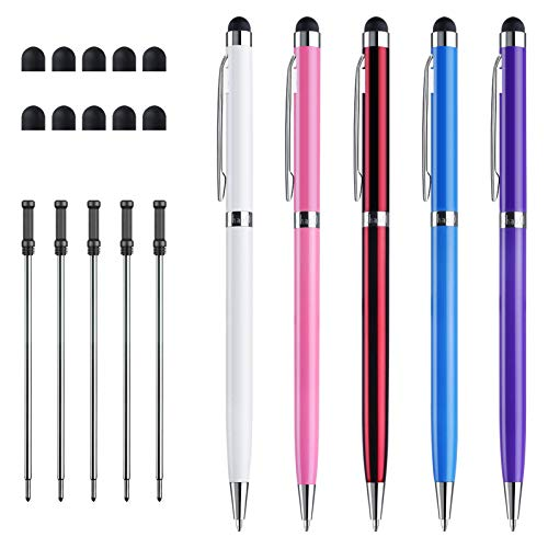 ChaoQ Stylus Pens, 5-Pack 2 in 1 Slim Capacitive Stylus and Ballpoint Pen for Touch Screen Devices, iPad, iPhone, Tablets, Kindle, with 10 Replaceable Tip, 5 Refills (White/Pink/Purple/Red/Sky Blue)