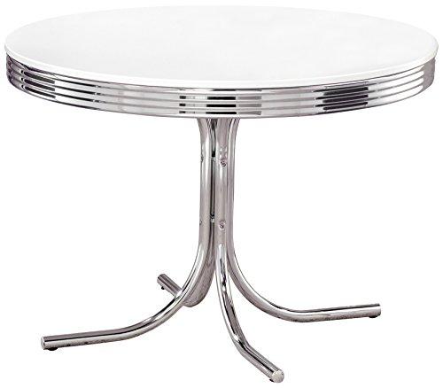 Where to buy coaster retro round dining kitchen table in chrome white susie mccright - Vintage chrome kitchen table ...