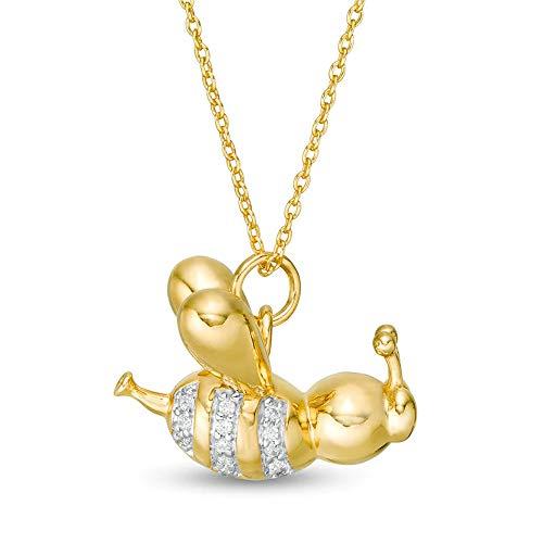 Ani's Colgante de abeja de globo de 1/10 quilates T.W. en plata de ley 925 chapada en oro amarillo de 14 quilates