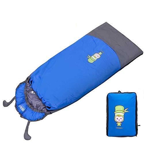 DLSM Sac de couchage enfant automne et hiver quatre saisons épaissie chaud sac de couchage intérieur grand garçon anti coup de pied étudiant pause déjeuner sac de couchage 1.35kg bleu