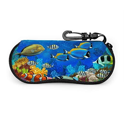 Funda para gafas de sol de mar, peces marinos, océano, espectáculos tropicales, resistente a los arañazos, soporte para gafas de sol de viaje, ligero con gancho para unisex