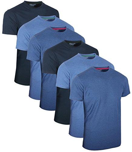 FULL TIME SPORTS 6 Pack Blau Sortiert Rundhals Tech T-Shirts (8) Medium