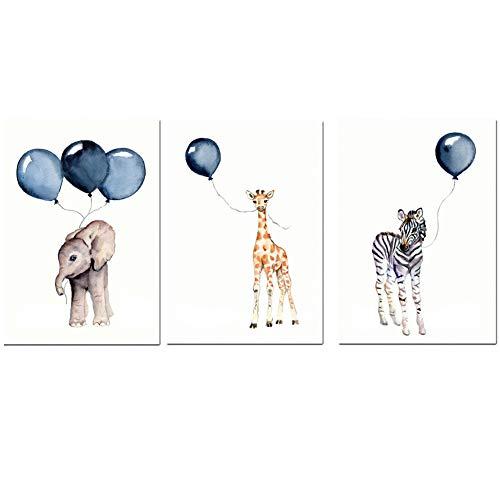 Jeu de 3 posters pour Animal ballon de dessin animé Dessin animé mignon d'enfant DIN A4 Sans cadre