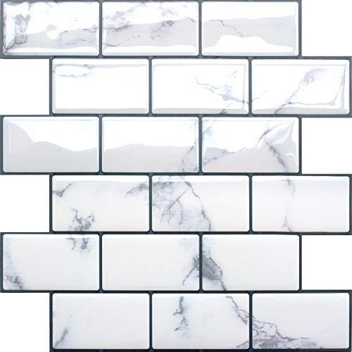 Yoillione タイルシール 防水 (4枚セット)耐熱 キッチン おしゃれ 剥がせる タイル 壁紙シール 賃貸 雰囲気転換 DIY ウォールステッカー 北欧 トイレ 洗面所 リメイクシート 大理石