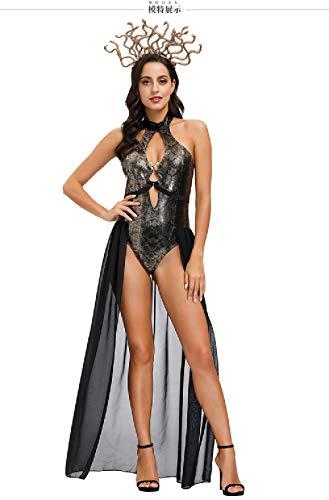 Quenny Snake Printed high-Forked Swimwear,Halloween Scary Kraken Ancient Greek Mythology Medusa Costume.3 Pieces. (X-Large) Black
