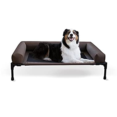 K&H Pet Products Original Bolster Pet Cot Elevated Pet Bed Chocolate/Mesh