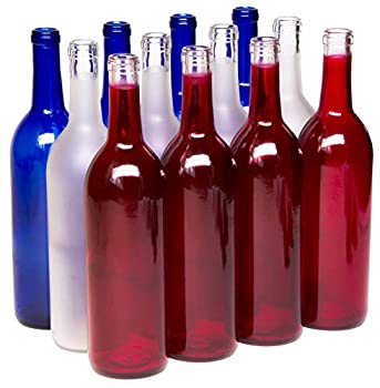 North Mountain Supply - W5A-RWB 750ml Red White & Blue Assortment Glass Bordeaux Wine Bottle Flat-Bottomed Cork Finish - Case of 12