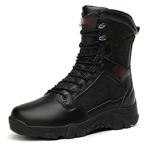 Botas tácticas de los hombres de alta parte superior zapatos de senderismo al aire libre anti-colisión cremallera impermeable botas del ejército
