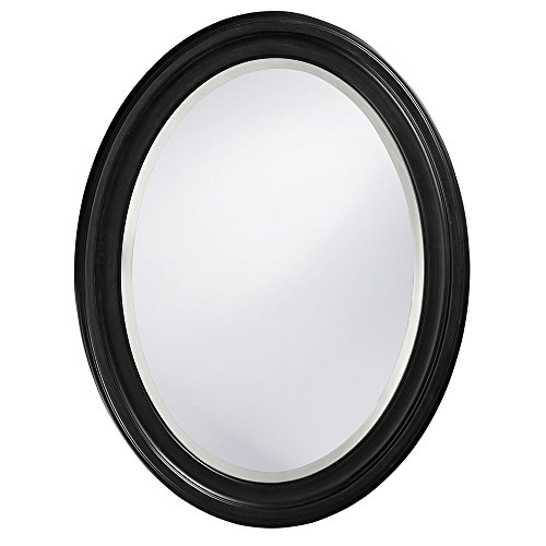 Howard Elliott George Oval Wood Framed Wall Vanity Mirror, Matte Black, 40106