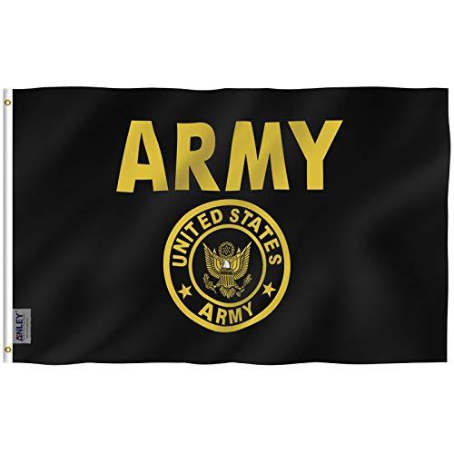 ANLEY Fly Breeze 3x5 Pé Exército dos EUA Bandeira da crista do ouro - Cor vívida e resistente ao desbotamento UV - Cabeçalho de lona e costura dupla - Bandeiras militares