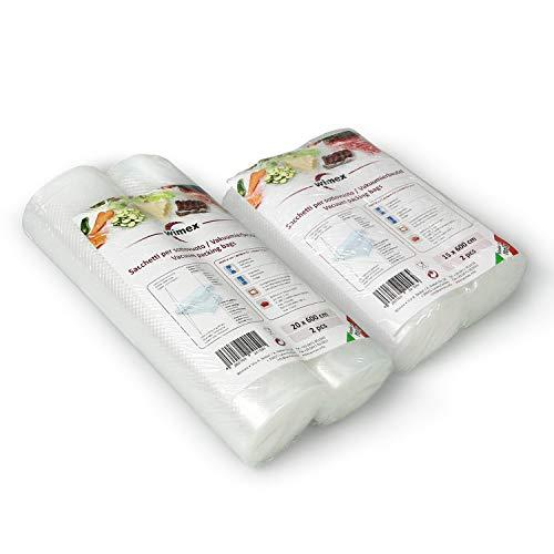 Sacchetti sottovuoto per Alimenti Diverse Misure. BPA Free. Cottura Sous Vide. Super Resistenti: Universali e Adatti a Tutte Le Macchine sottovuoto (Kit 2 Rotoli 15x600 +2 Rotoli 20x600 = 24 Metri)