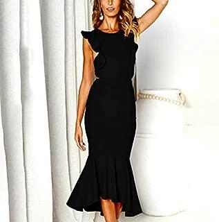 Labos 女性のノースリーブロングフィッシュテイルドレス (色 : Black)