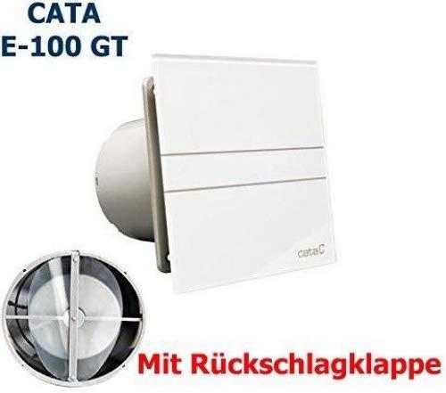 Cata Ventilateur E-100 GT avec clapet anti-retour, avec minuterie et face avant en verre, ventilateur puissant (115 m3/h), très silencieux (31 dB), économe en énergie, 8 W, avec roulement à billes