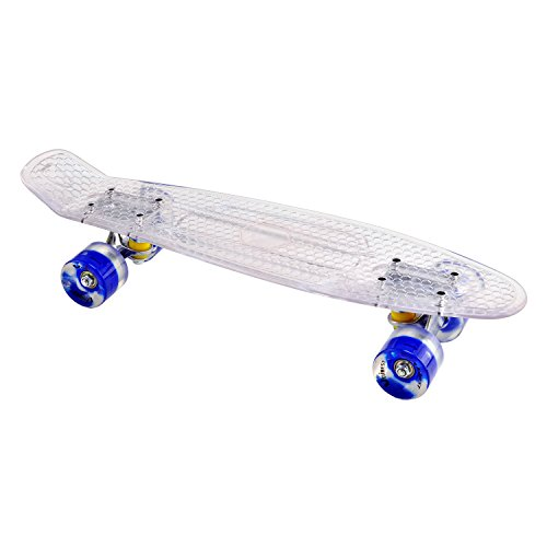 Unibest Skateboard Mini Cruiser Rollbrett Retro-Board transparent 57x15cm mit LED Leuchtrollen - weiß