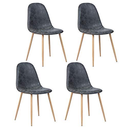 Juego de 4 sillas de Estilo Vintage con Asiento y Respaldo Cubiertos de Piel sintética Vintage, Patas de Metal con Acabado en Color Negro.