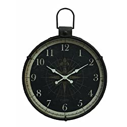 Creative Co-op Black Metal Wall Clock with Compass Image