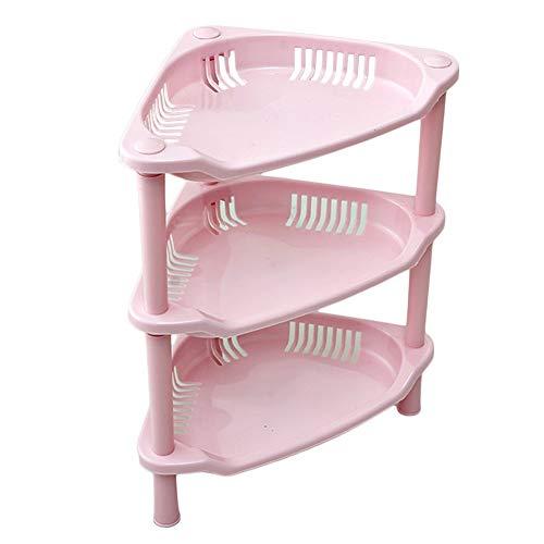 Topshop 3 Tier Plastic Corner Shelf Organizer Bathroom Kitchen Storage Rack Holder (Pink)