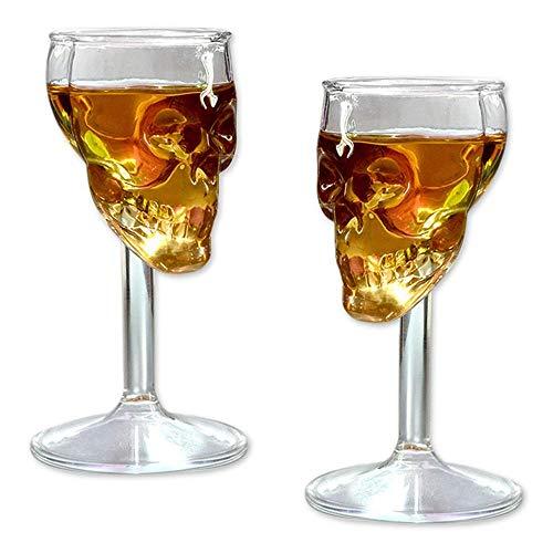 Bumplebee Halloween Deko Creative Totenkopf Glas Skelett Weingläser Skull Cup Karaffen Goblet Glas Alkohol Rot Wein Cocktail Gläser Bier Whisky Gläser Transparent Champagner Gläser (12 X 6 X 6 cm)