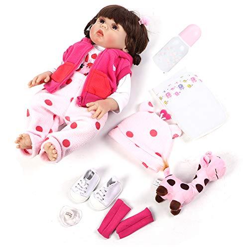 Soapow 48 cm/18.90 pulgadas impermeable pelo rizado realista suave silicona rosa vestido bebé muñeca juguete juego (pelo rizado)