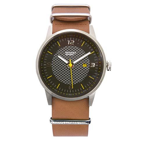 Renault Sport – Armbanduhr Elegance – Herren – Analog Quarz – Armband aus braunem Leder
