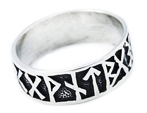 Windalf Wikinger Ring FUTHARK h: 0.9 cm Runen 925 Sterlingsilber (Silber, 66 (21.0))