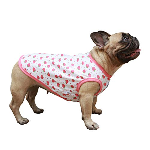 iChoue Cartoon Cute Dog T Shirts Clothes for Medium Size Boy Male Vest Tank Top Large French Bulldog Frenchie Pug English Boston Terrier Pitbull Strawberry - L Plus